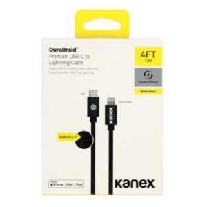 Kanex USB-C to Lightning 1.2m Durabraid Cable Black
