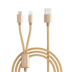 Romoss 2in1 USB to Lightning|Micro USB 1.5m Cable Gold